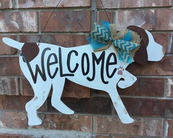 German Shorthaired Pointer Door Hanger, Dog Door Hanger, Dog Wreath, Pet Gift, Dog Decor, Dog mom decor, GSP, Fur Mama Decor
