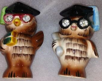 Owls salt and pepper signed lefton 1956