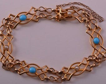 18ct Yellow Gold Victorian Bracelet With Turquoise And Pearls (734o)