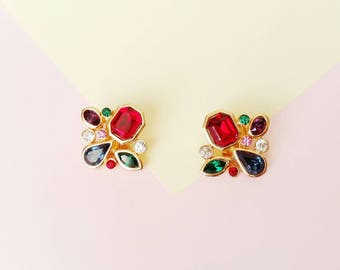 Vintage rainbow glass rhinestone clip on earrings from the 80's