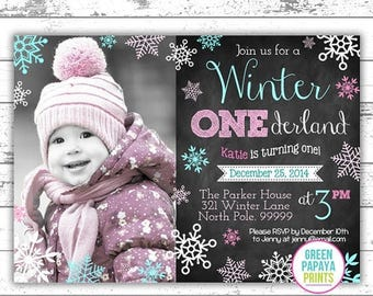 25% OFF Winter Onederland Invitation - Digital File - Printable - Pink and Teal - Snowflake - Girl's First Birthday Invitation