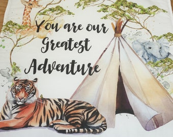 "You are our greatest adventure"" - Cot quilt, floor mat, jungle, safari theme. Headdress cushion teepee"