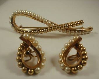 Large Napier Pat Pending Glass Pearl Brooch and Earring Set