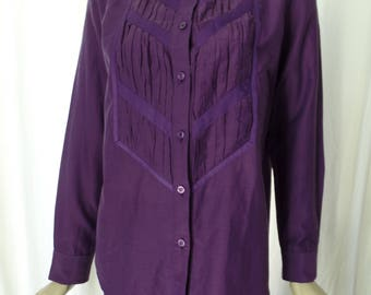 80s ISSEY MIYAKE pleated bib front purple blouse/ ribbon detail/ band collar style: size M