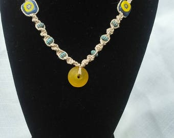 Sunny day, yellow, handmade, hemp, beads, necklace, boho, hippie,