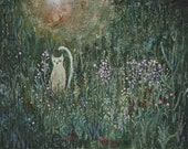 "Acrylic Original Painting  ""Sunset cat""  On wood board   by Tetsuhiro Wakabayashi"