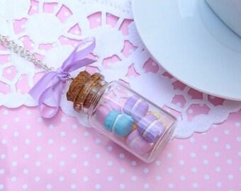 Necklace of pastel macaroons jar
