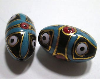 2 Matching Vintage Painted Glass Beads