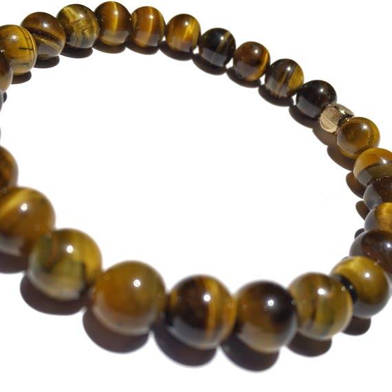 Classic brown Tiger Eye beaded bracelets, gemstones, mens, women, unisex, groom, gift, mala, yoga, meditation, bachelor, minimal, natural