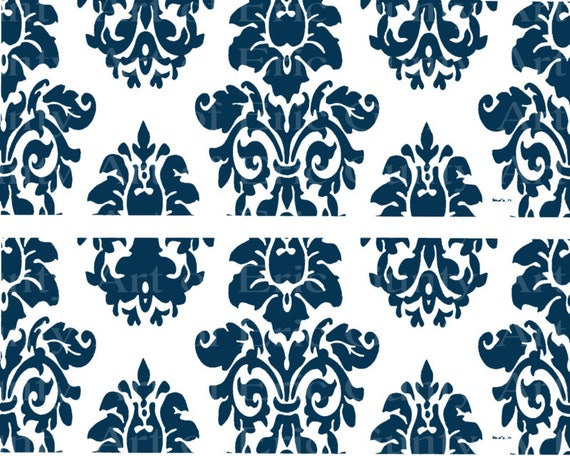 Navy Blue Damask Birthday - Edible Cake Side Toppers- Decorate The Sides of Your Cake! - D22847