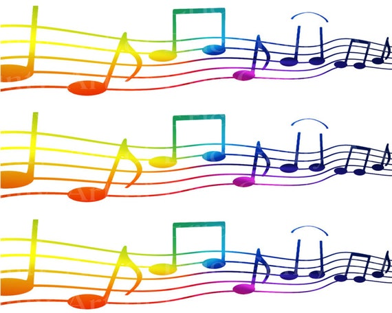 Rainbow Musical Notes Band Birthday - Edible Cake Side Toppers- Decorate The Sides of Your Cake! - D22859