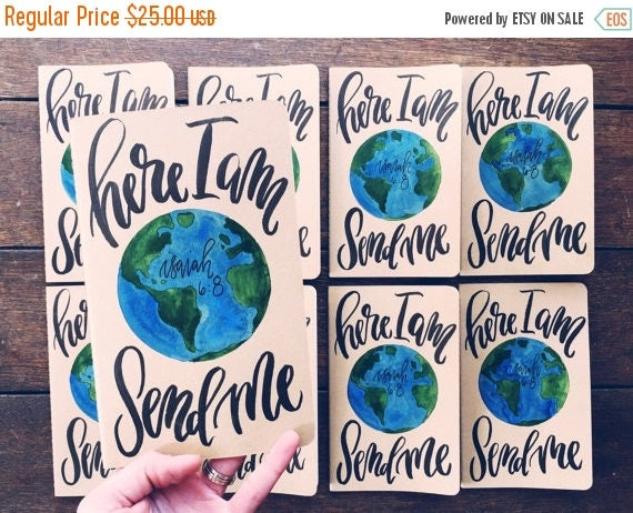 ON SALE Graduation gift, Missionary prayer journal, here I am send me Isaiah 6:8, personalized scripture gift, missions trip, travel journal