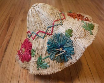 Rare Portable 1940s 1950s Floral Novelty Straw Beach Hat/Purse