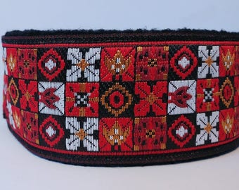 Comfortable, soft&cosy whippet martingale collar. Very wide - 5.5cm/2,2''. Red. NEW.