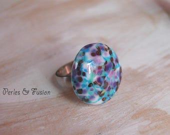 Glass ring * art * purple/white/green water interchangeable - ring - unique glass bead spun torch - handmade
