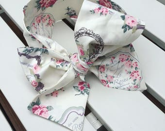 Girl's Headwrap Big Bow Cotton Headband in Vintage style pink Paris floral fabric with an ivory background