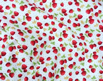 Ivory and red pretty cute summer strawberry 100% quality cotton Rose and Hubble fabric by HALF METRE