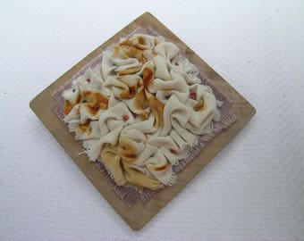 From My Dad's Shed 1: A hand crafted mixed media hand embroidered rusted fabric textile art and apple wood brooch