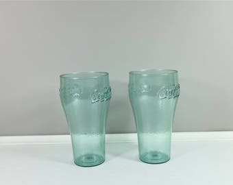 Vintage set of two Coke plastic glasses by Dixie - French Coca Cola retro plastic glasses - Coke collectible -  Vintage kitchen
