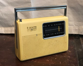 Zenith Portable Radio/1970s/Lemon Yellow Plastic/Chrome Handle/AM FM/Solid State/Cord or Battery/Working/Beach/Top 40/Retro/Rock & Roll
