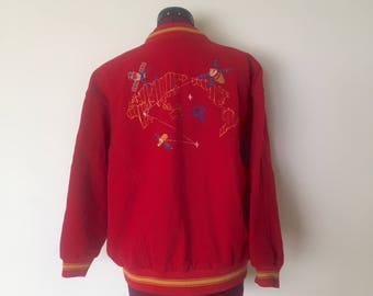 90s Red Wool Bomber Jacket Internet Embroidery Zip Up Size S M made in Italy by Penpimallo