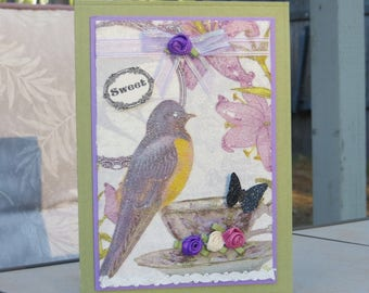 "Card, bird and Teacup, ""sweet"", Butterfly Purple, Glittery using napkin, w Tiny roses, 5""x7"" w/envelope."