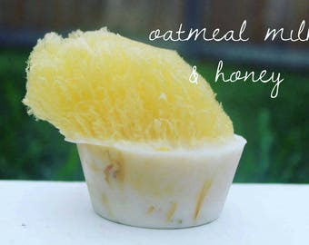 Best Seller! Sea Sponge Soap-Oatmeal Milk and Honey with calendula petals 3 oz