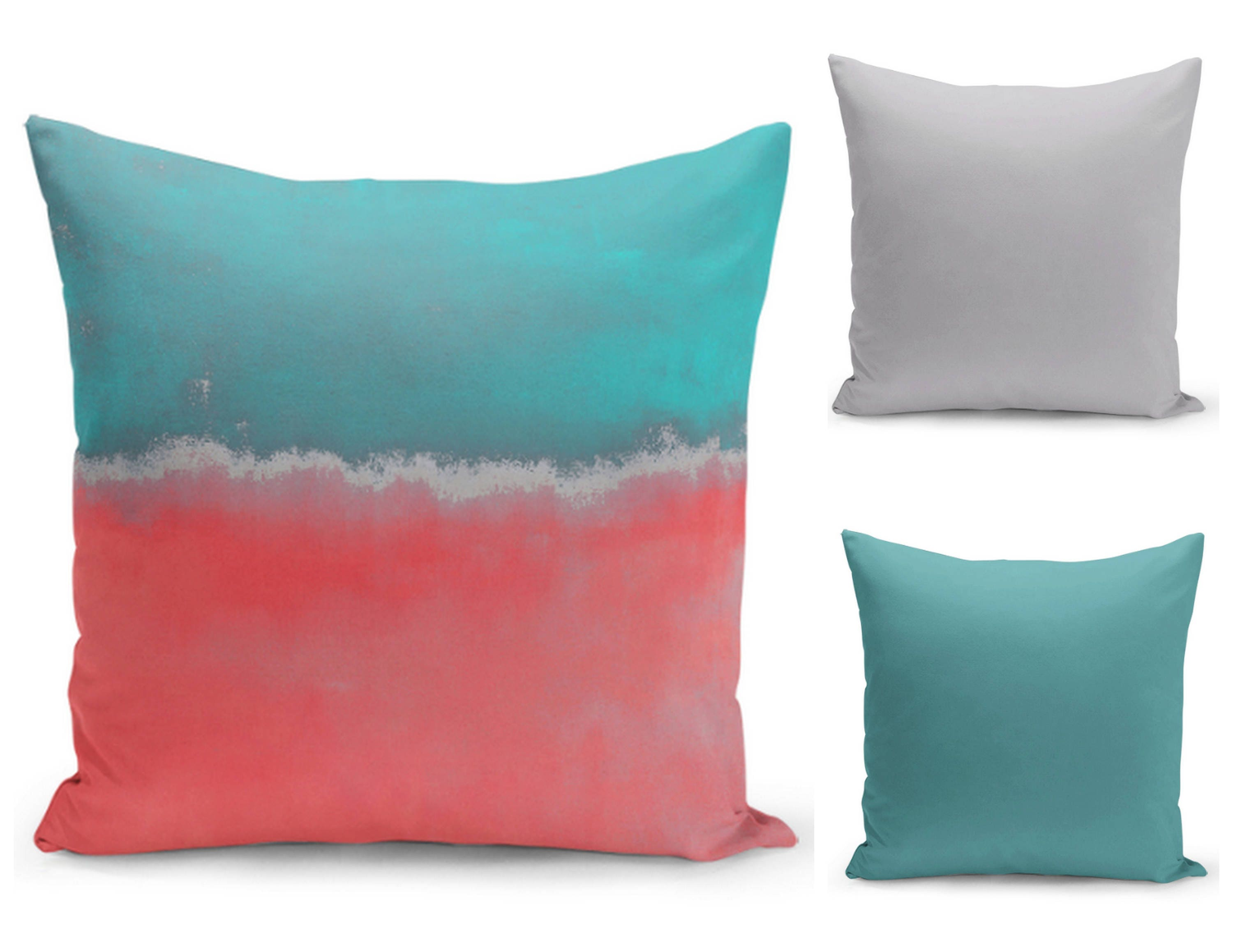 Modern Abstract Pillow : Abstract Throw Pillow Cover Teal Coral Grey Modern Home Decor