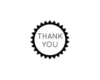 "THANK YOU text rubber STAMP - mini rubber stamp, envelope packaging stamp, stationary stamp, business stamp, 0.75"" x 0.75"" (minis72)"