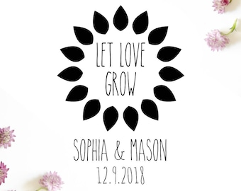 "Custom Sunflower Stamp, personalised seed favours stamp, seed packet stamp, wedding stationery, let love grow stamp, 2""x2.75"" (cts208)"