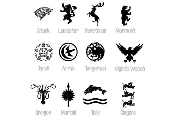 Game of Thrones House Sigil Decals