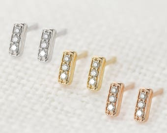 Mini pave diamond bar studs earrings 14k gold, rose gold, white gold, tiny simple minimalist earrings, dainty gold studs, bar-e101-3 / RTS