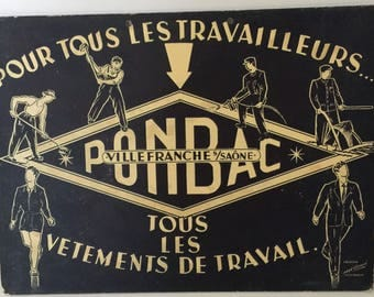 Antique Original French Advertising Hanging Sign, Heavy Board, VilleFranche, Art Deco, Great Graphics, Menswear