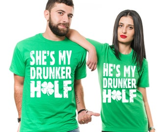 St Patrick's Day Couple Matching Green T-Shirts Funny Shenanigans Drinking Party Irish Pub Tee Shirts
