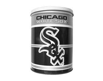 "Vintage Chicago White Sox 8"" Tall Metal Lidded Circular Tin 90s 1991 Baseball MLB Big Hurt"