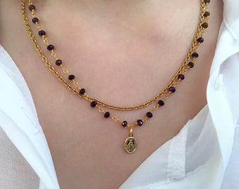 Two-strand brass necklace with rosary chain and madonna pendant in sterling silver 925 gold