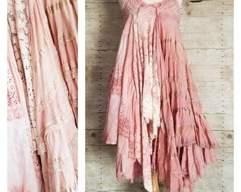 Pink Sunshine Shabby romantic pixie layered lace prairie gypsy floral ruffle rustic Boho dress Mori