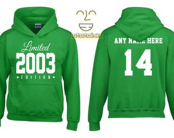2003 Limited Edition Birthday Hoodie, Kids 14th Birthday Hoodie, Children's Birthday Hoodie, Gift for Child Birthday
