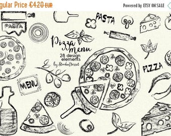 80% OFF - LIMITED TIME - Pizza Clipart, Ink Cliparts, Sketch Clip Art Italian Kitchen, Cheese Cliparts, Pasta Clip Art, Herbs Basil, Salami