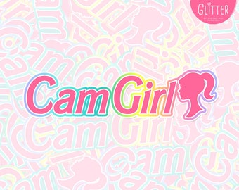 Cam Girl Barbie Style Holographic Sticker