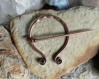 Hand Forged Copper Pennanular Brooch