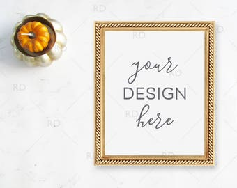 "Pumpkin Fall Themed Frame Mockup on Marble Desk / Styled Stock Photography / 8""x10"" Frame PSD smart object and PNG / Styled Desk with Frame"