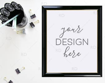 Office Supplies Frame Mockup on White Desk / Styled Stock Photography / 8x10 Frame PSD smart object and PNG / Office Styled Desktop Mockup