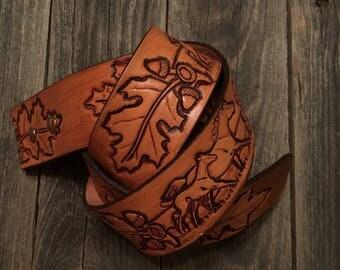 "Horse, Leaf, acorn pattern  hand tooled leather belt 1 3/4"" wide"