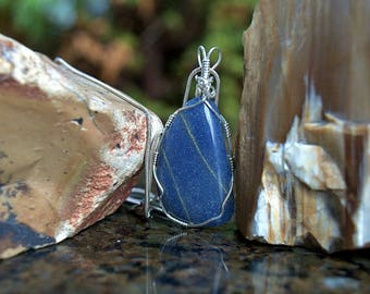 Blue Quartz pendant silver wire wrapped natural mineral free form shape gemstone necklace