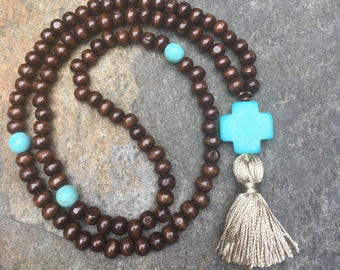 beaded cross necklace mens mala 108 bead wooden mala prayer beads women's dark brown wooden beads turquoise stone cotton tassel necklace