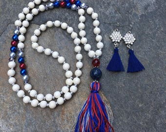 long beaded necklace game day tassel necklace white wood mala necklace red silver blue patriotic  necklace   boho necklace