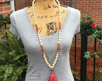 Long beaded tassel necklace beaded  Necklace wood bead mala purple & orange Necklace ladies jewelry Lavish Lucy Designs women's necklace