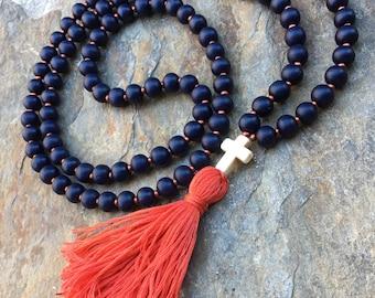 tassel necklace cross necklace 108 wood beaded mala orange tassel necklace navy blue Bohemian boho necklace mens mala women's cross necklace