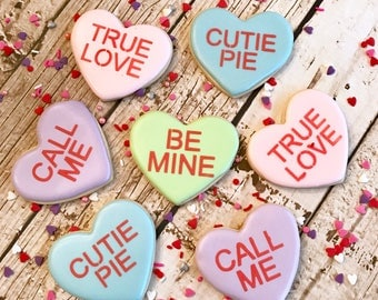 Valentine Cookies | Conversation Heart Cookies | Conversation Hearts | One Dozen